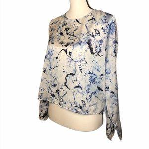 PHILOSOPHY Long Sleeve Blue Dye Print Blouse L